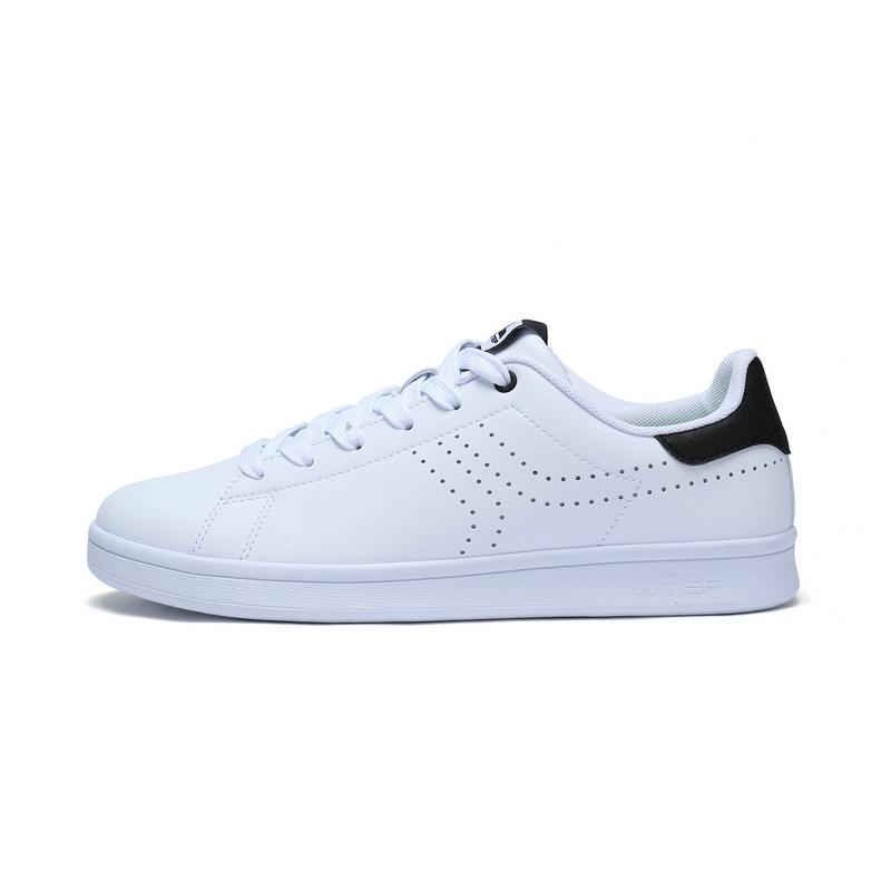 特步 专柜款  男子秋季板鞋 简约π板鞋小白鞋983319315625