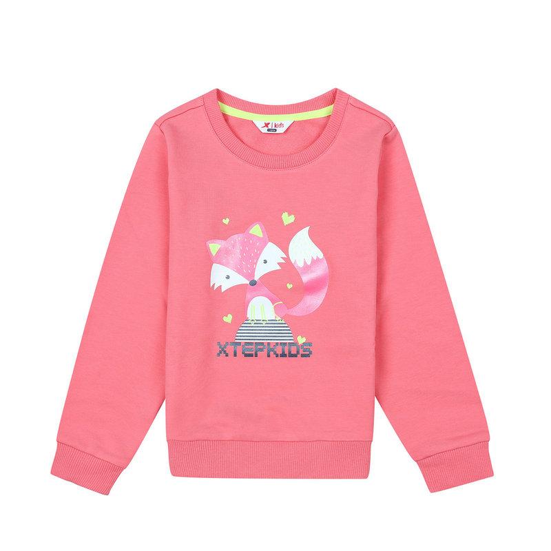 特步 专柜款 女童秋季卫衣 17新品甜美可爱印花 儿童上衣683324053032