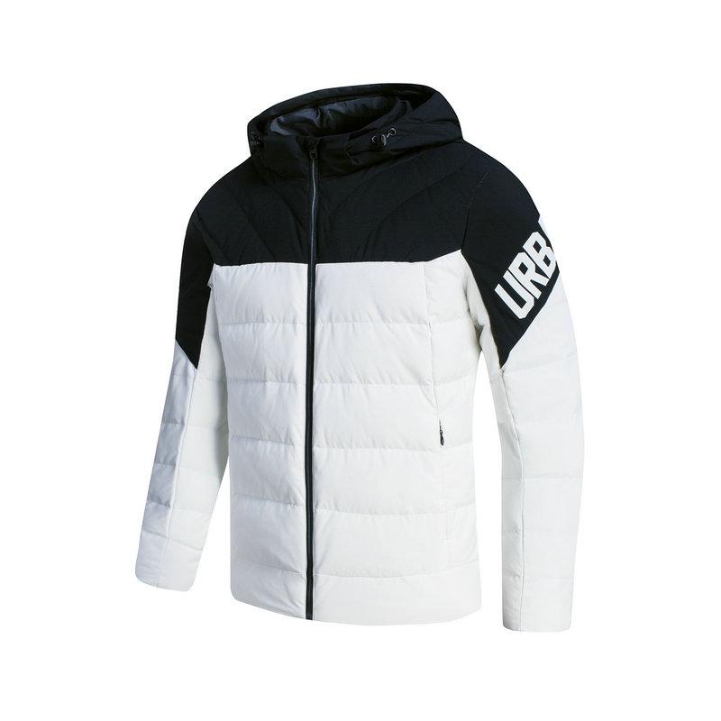 特步 专柜款 男羽绒服冬季款 都市拼接撞色加厚连帽外套983429190674