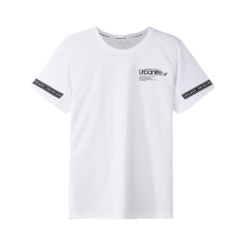 特步 专柜款 短袖T恤男2018秋季新品短袖针织衫跑步运动健身透气舒适 982329012325