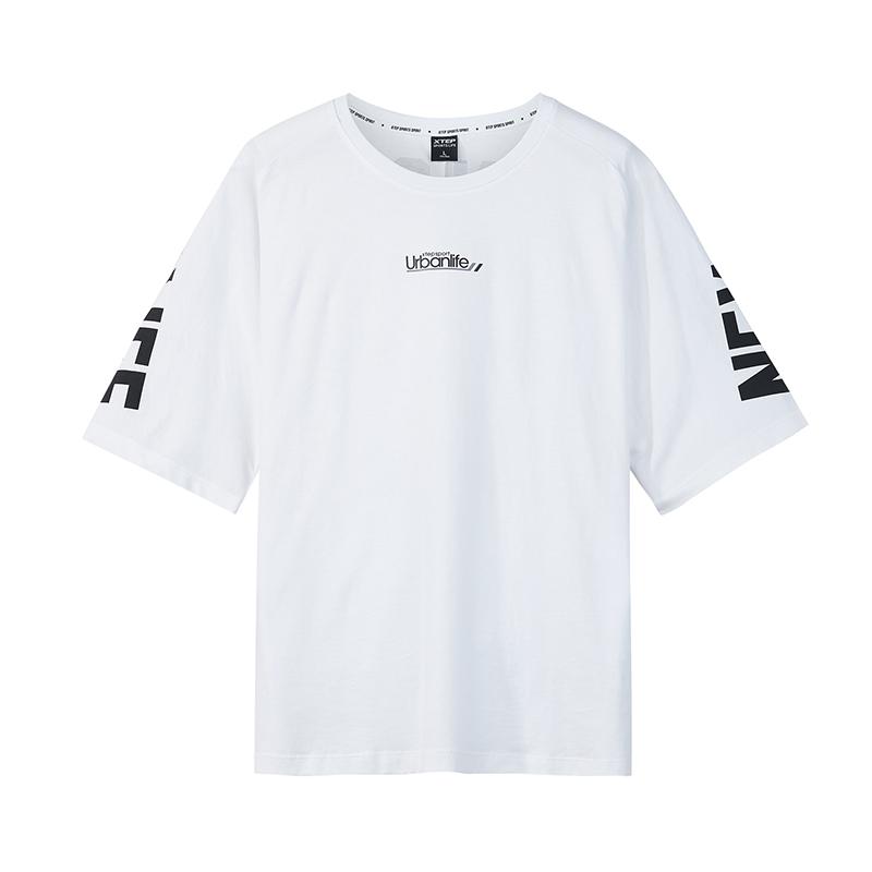 特步 专柜款 男子短袖2018秋季新款舒适时尚潮流字母街头短袖针织衫上衣982329012417