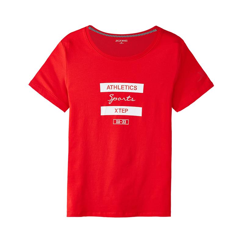特步 专柜款 女子短袖T恤夏季新款舒适时尚潮流字母简约休闲女子上衣 982328012329