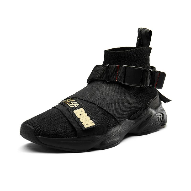特步 专柜款 休闲鞋男子新品时尚高帮袜套包裹舒适透气时尚潮流休闲运动鞋 982319392908