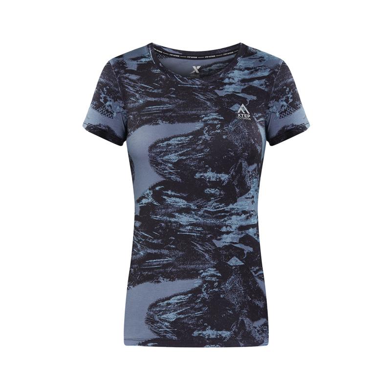 特步 专柜款 女子新款户外运动短袖舒适透气T恤982228012078