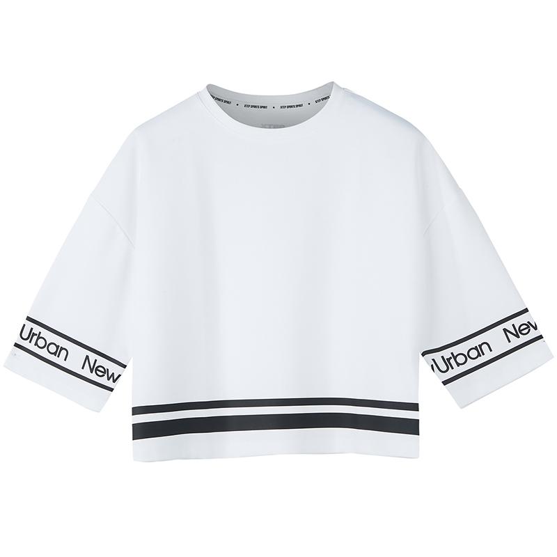 特步 专柜款 女短袖秋季新品舒适休闲印花字母时尚潮流短袖针织衫女子982328012342