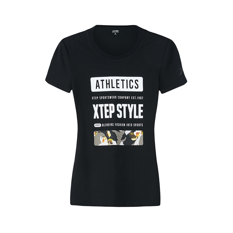 特步 专柜款 女子短袖T恤新款字母透气都市休闲 982328012328