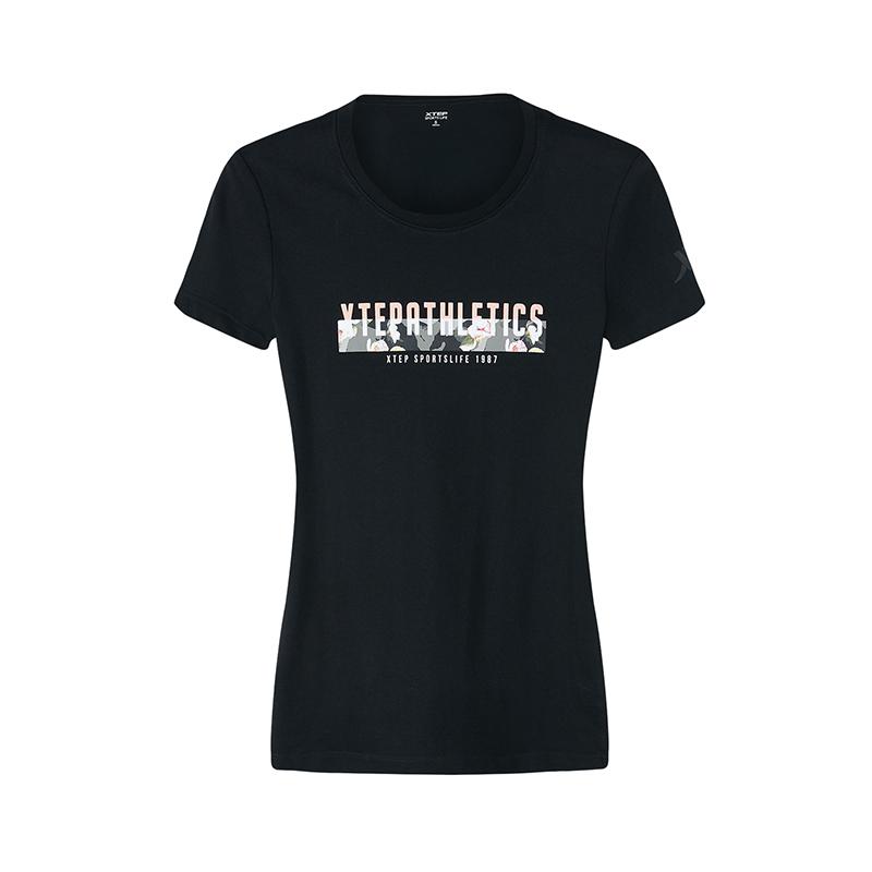 特步 专柜款 短袖T恤女秋季新款简约时尚针织短袖 982328012327