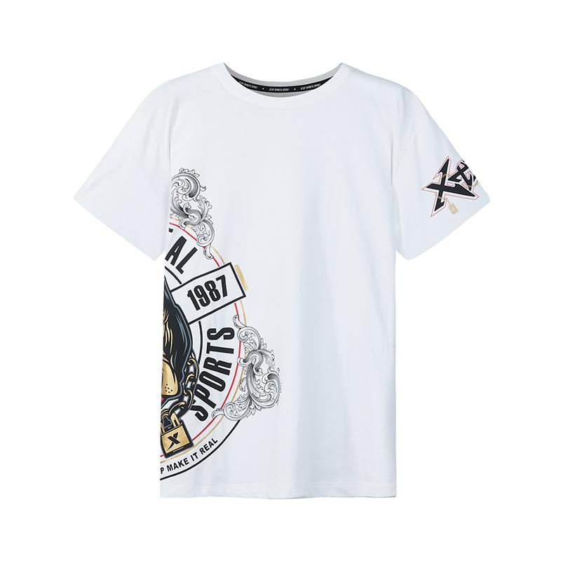【中国新说唱】特步 专柜款 男子短袖针织衫2018秋季新款T恤男轻薄透气982329012435