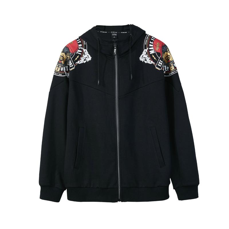 【中国新说唱】特步 男子针织上衣外套2018年秋季新款嘻哈潮流男装982329061748