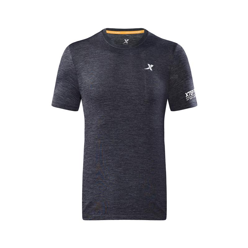 特步 专柜款 男短袖针织衫2018夏季新款轻薄舒适圆领时尚综训男子上衣T恤 982329012350