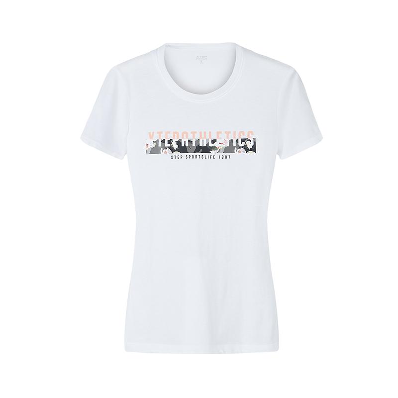 特步 专柜款 短袖T恤女2018秋季新款简约时尚针织短袖 982328012327