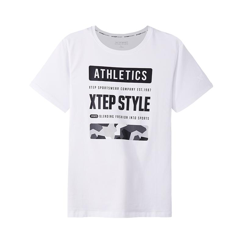 特步 专柜款 短袖T恤男休闲短袖2018新款圆领常规都市 982329012336