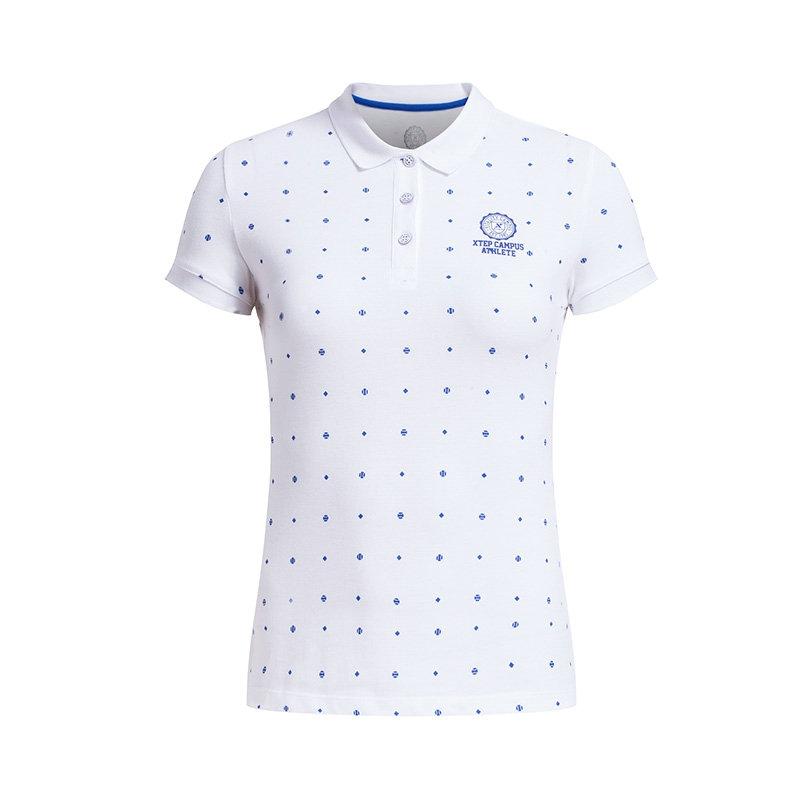 特步 专柜款 夏季新款 女运动POLO衫T恤 轻便透气时尚女上衣984228020937