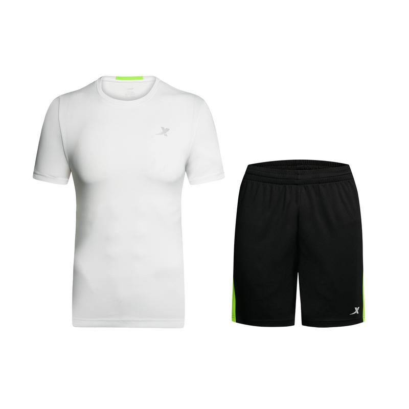 特步 男子夏季跑步套装 运动健身男子T恤短裤882229959130