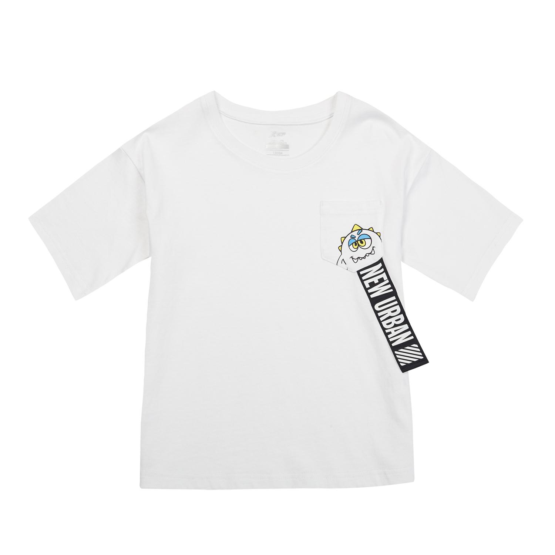 特步 女童休闲T恤 中大童T恤纯棉针织上衣 882224019173