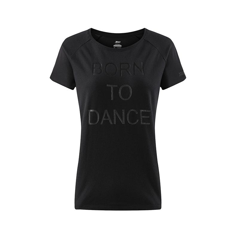 特步 女子训练T恤 运动健身字母印花短装882228019194