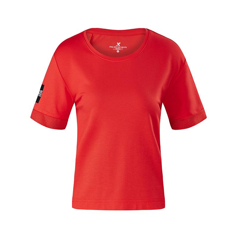 特步 专柜款 女子针织衫短袖2018夏季轻便综训运动健身982228012123