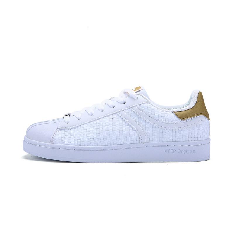 特步 专柜款 男子夏季板鞋 新品小白鞋 潮流时尚贝壳头板鞋983219315673