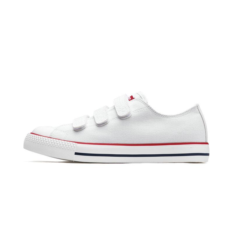 特步 女子帆布鞋 纯色经典休闲搭扣设计夏季新款上市简约运动鞋 982218109273