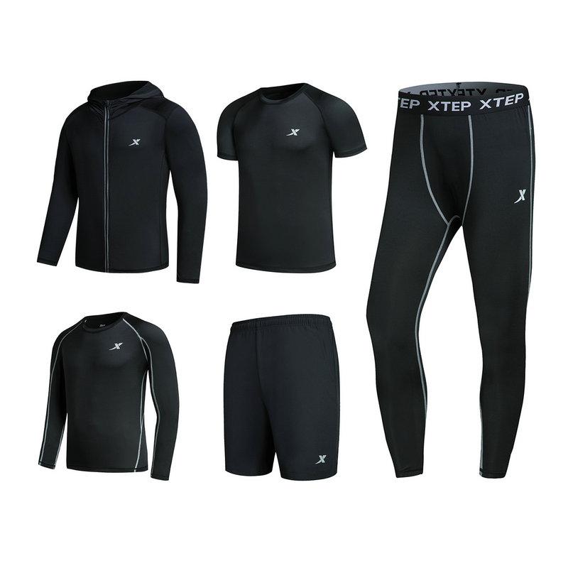 特步 男子五件套运动套装 健身舒适运动装882129999303