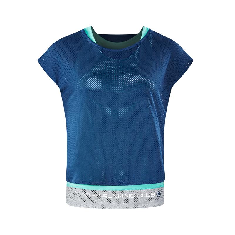 特步 专柜款 女子夏季运动健身时尚百搭休闲针织衫套装982228410024