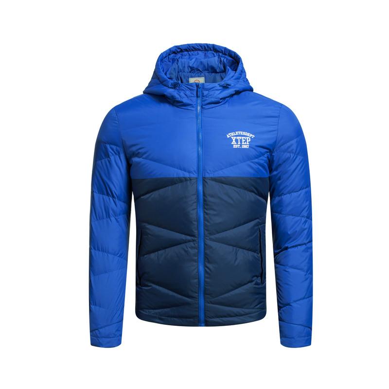 特步 专柜款 男子羽绒服 拼接撞色保暖 校园轻便男子冬季外装984429190544