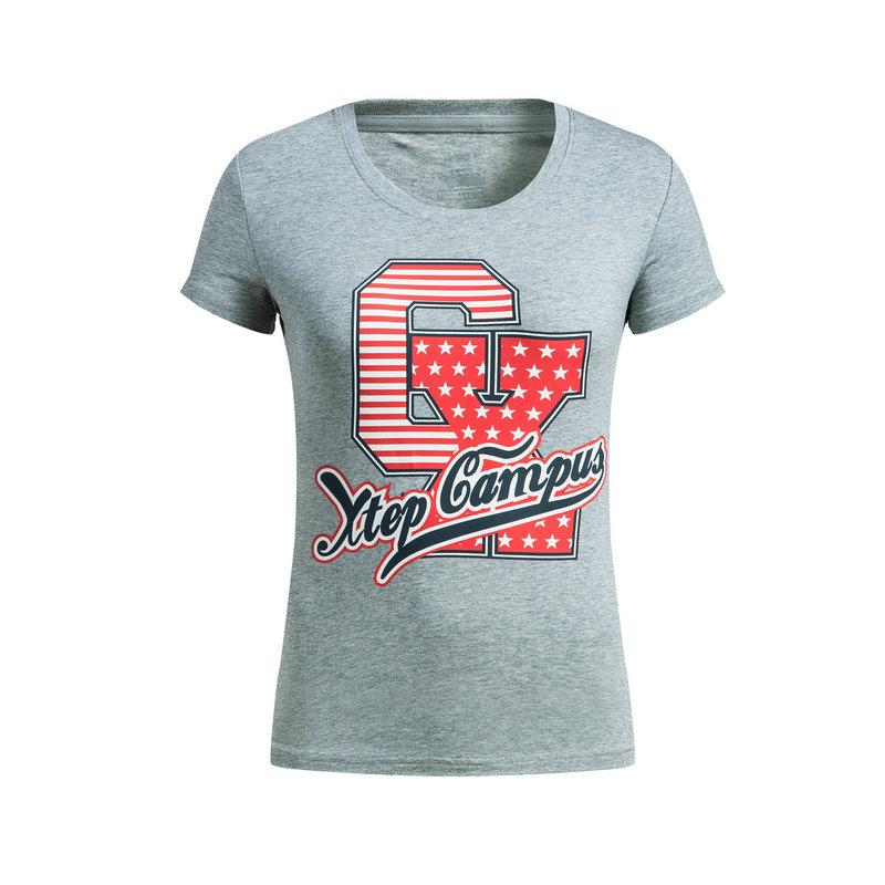 【3件99】特步 女子短袖针织衫春季款 校园透气圆领休闲T恤882128019019