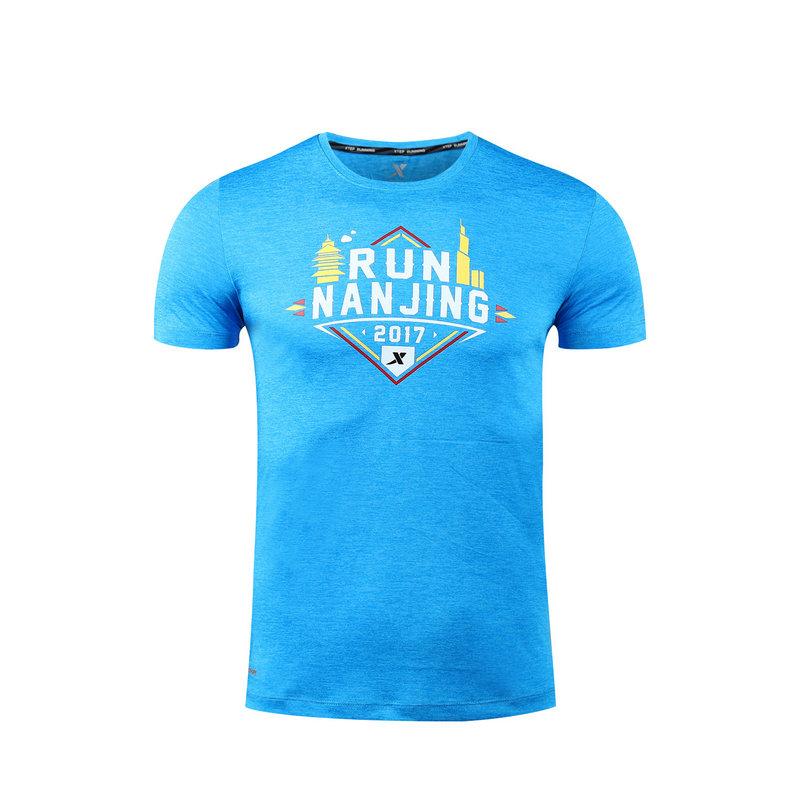特步 男女短袖针织衫17新款 南京马拉松舒适轻薄休闲潮流圆领T恤983429012294