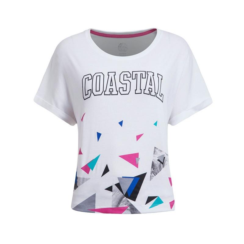 特步 专柜款 女子夏季T恤 潮流几何印花针织衫短袖983228011740