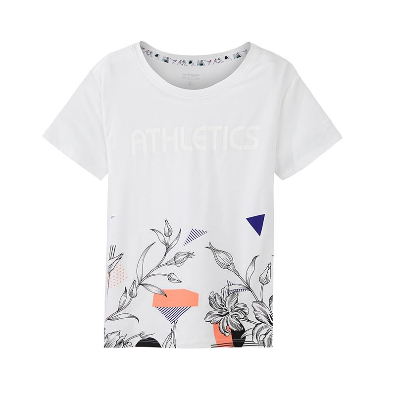 特步 专柜款 女新款时尚潮流印花图案舒适女针织衫短袖982228012158