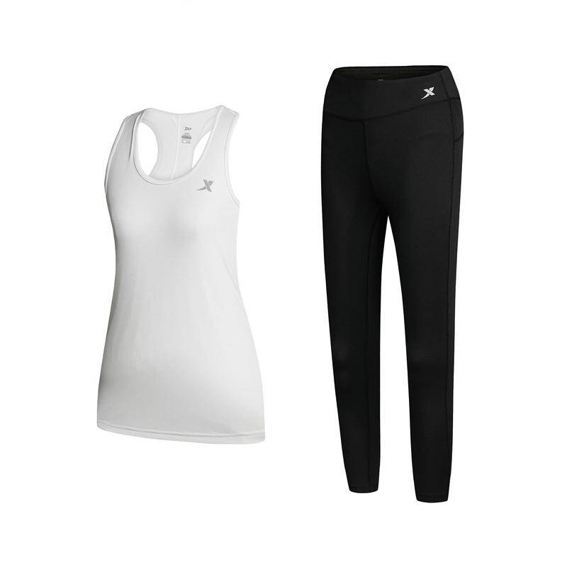特步 女子跑步套装 背心 紧身裤 跑步运动套装女装882128959313