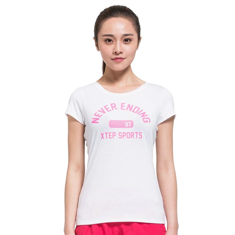 特步 专柜款 女士短T恤  简单时尚青春 女士短袖984228011417