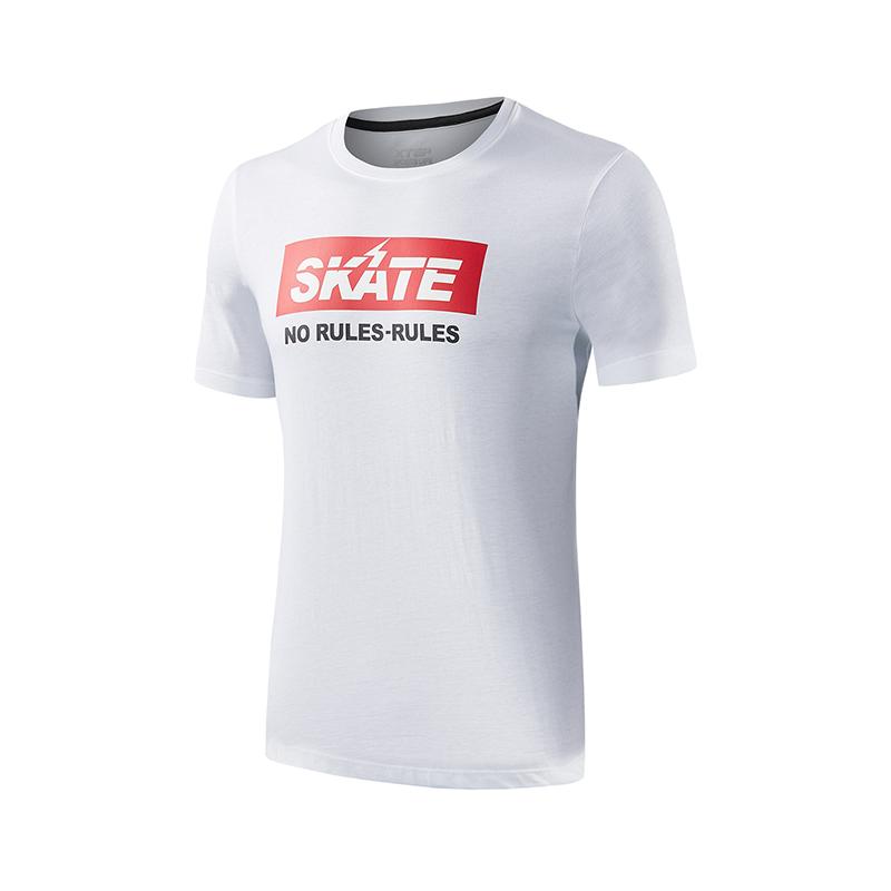 特步 专柜款 男子短袖针织衫 街头潮酷T恤982229012191