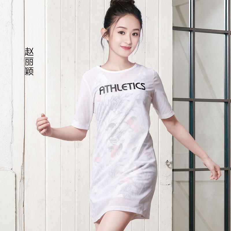 【明星同款】特步 专柜款 女子夏季长款T恤 赵丽颖同款套装982228410026
