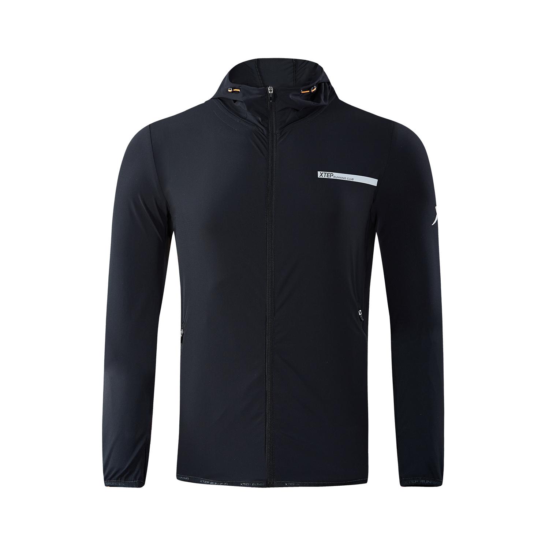 特步 专柜款 外套男针织上衣2018新款连帽男装跑步健身运动外套户外运动 982329061620