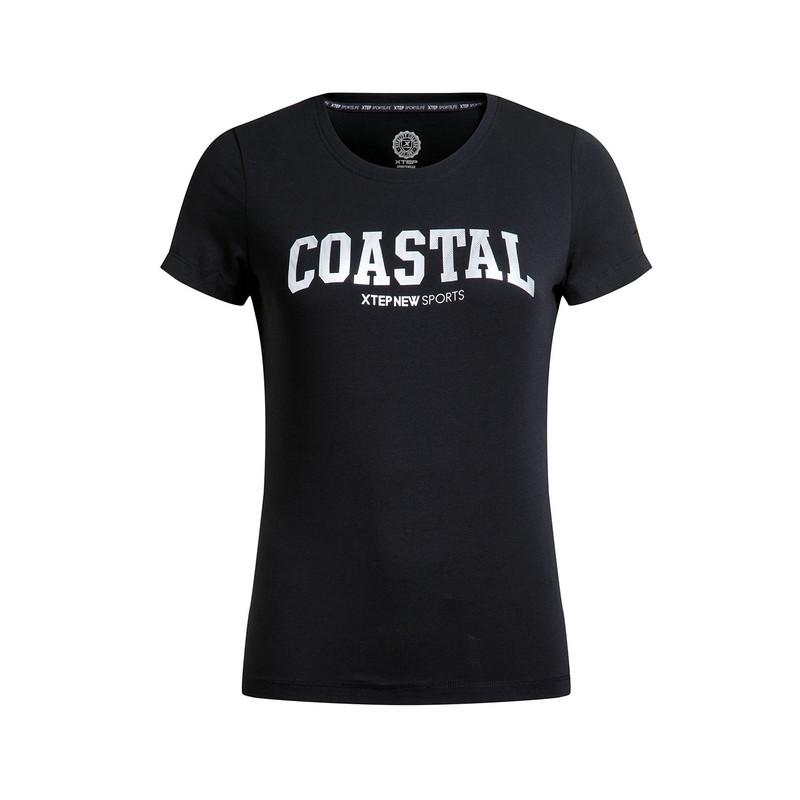 特步 专柜款 女子短袖针织衫 新品休闲舒适修身 女子上衣983228011658