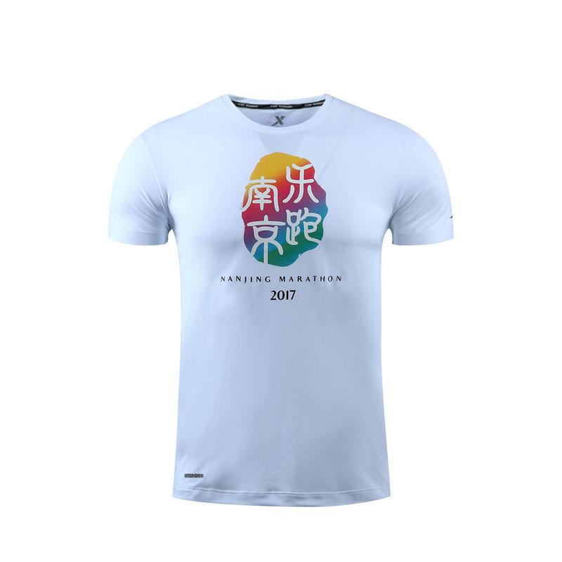【夏款T恤】特步 男女短袖针织衫 17新款 南京乐跑文化衫舒适跑步运动圆领T恤983429012293