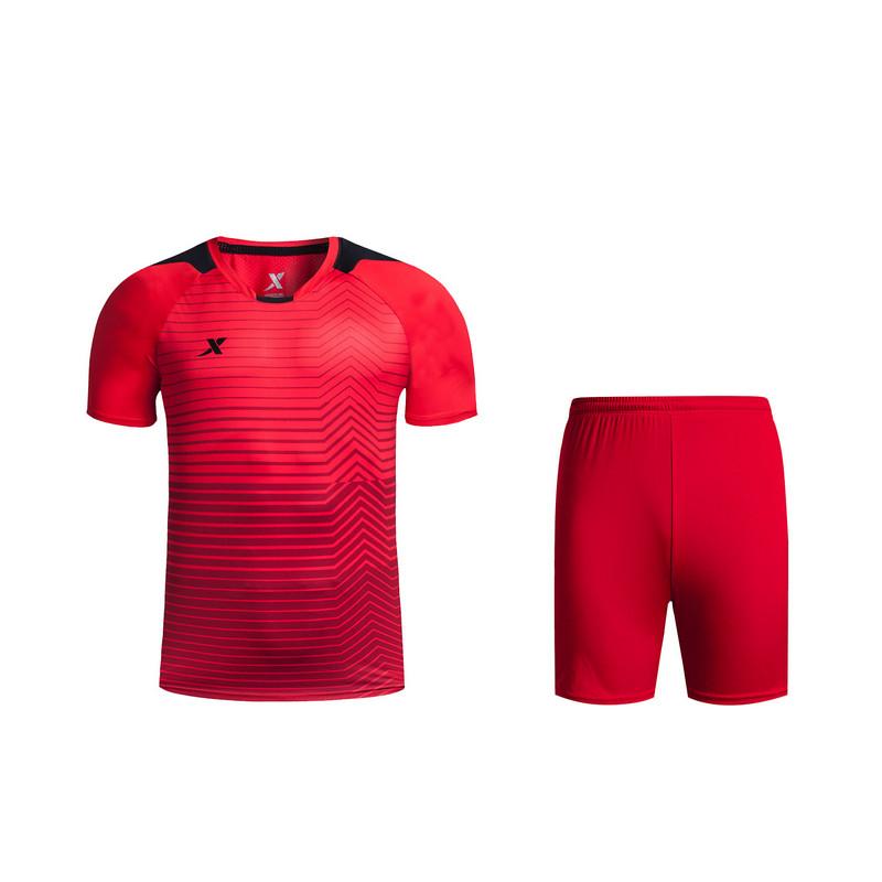 特步 专柜款 男子夏季足球套装 透气舒适运动套装983229670015