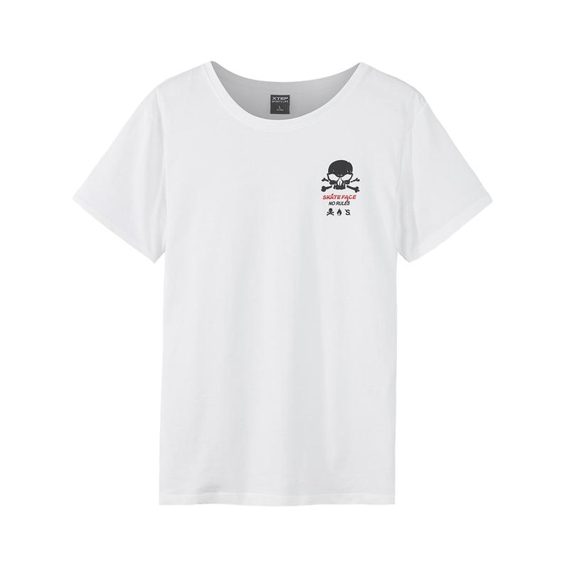 特步 专柜款  男子休闲圆领轻便透气短袖针织衫982229012131