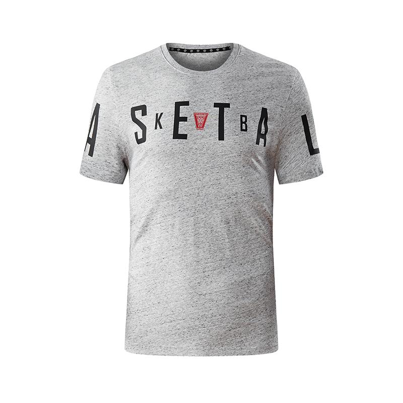 特步 专柜款 男子短袖针织衫2018夏季新款轻薄纯色字母印花男T上衣运动短袖  982229012075
