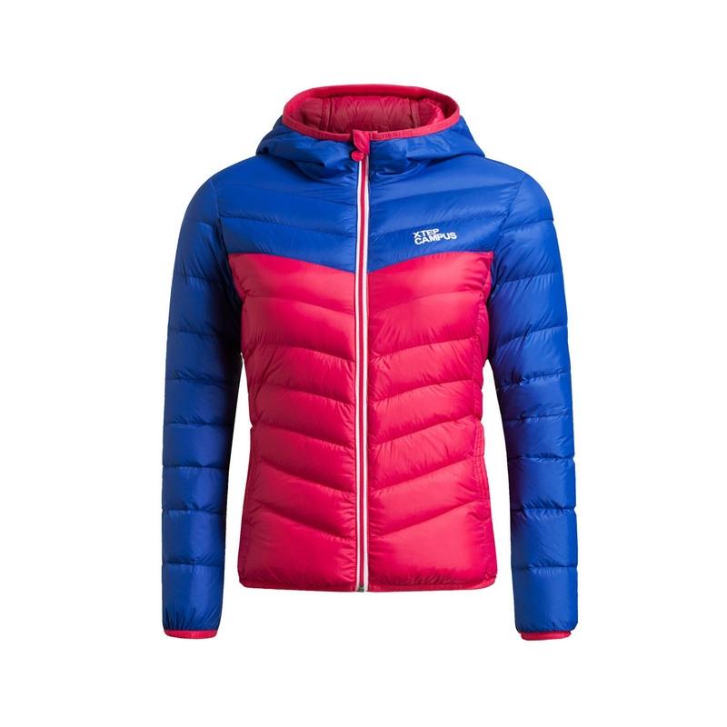 特步 专柜款   女子冬季羽绒服 16年新款保暖抗寒拼接撞色羽绒服984428190525