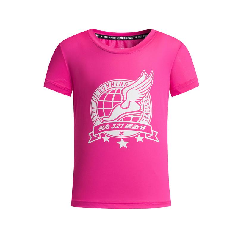 特步 女童短袖针织衫 17新品透气运动 儿童T恤883224019339