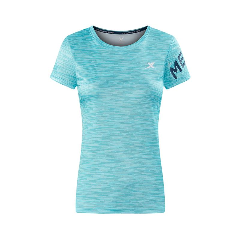 特步 专柜款 女短袖针织衫2018夏季新款轻薄舒适圆领女子运动上衣 982228012248