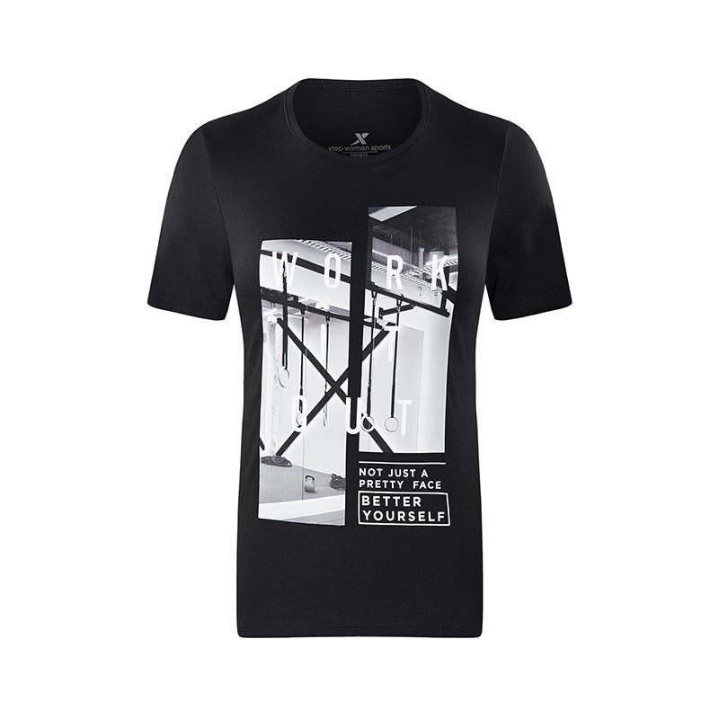 特步 专柜款 女运动T恤夏季弹性轻薄透气综训短袖982228012059
