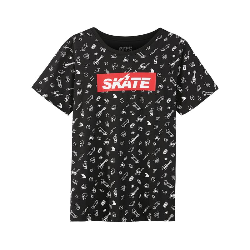 特步 专柜款 男子短袖T恤年夏季新品休闲时尚运动潮流针织衫982229012192