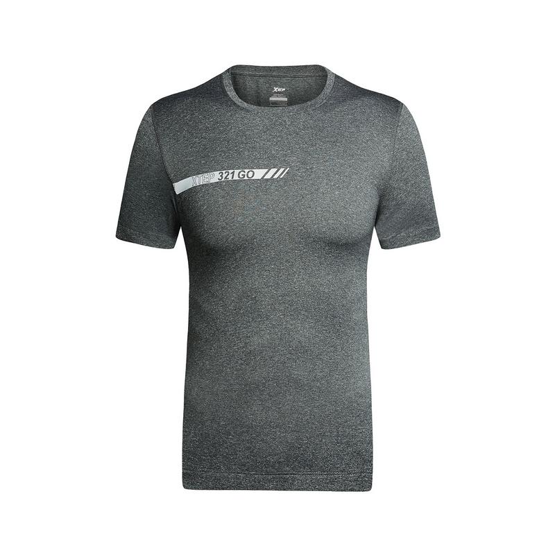 特步 男子夏季跑步T恤 健身户外运动 透气短装882229019338