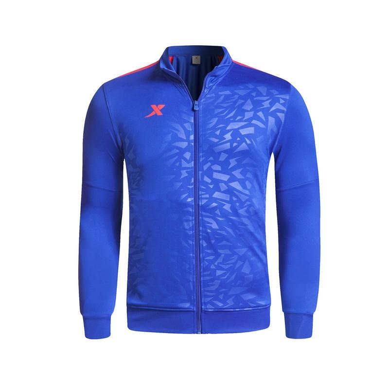 特步 男针织套装(上衣)纯色足球运动外套 男上衣983129340299