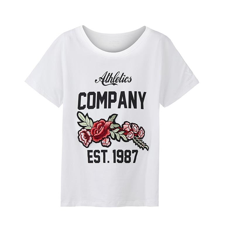 特步 专柜款 女子新款时尚百搭刺绣休闲T恤982228012149