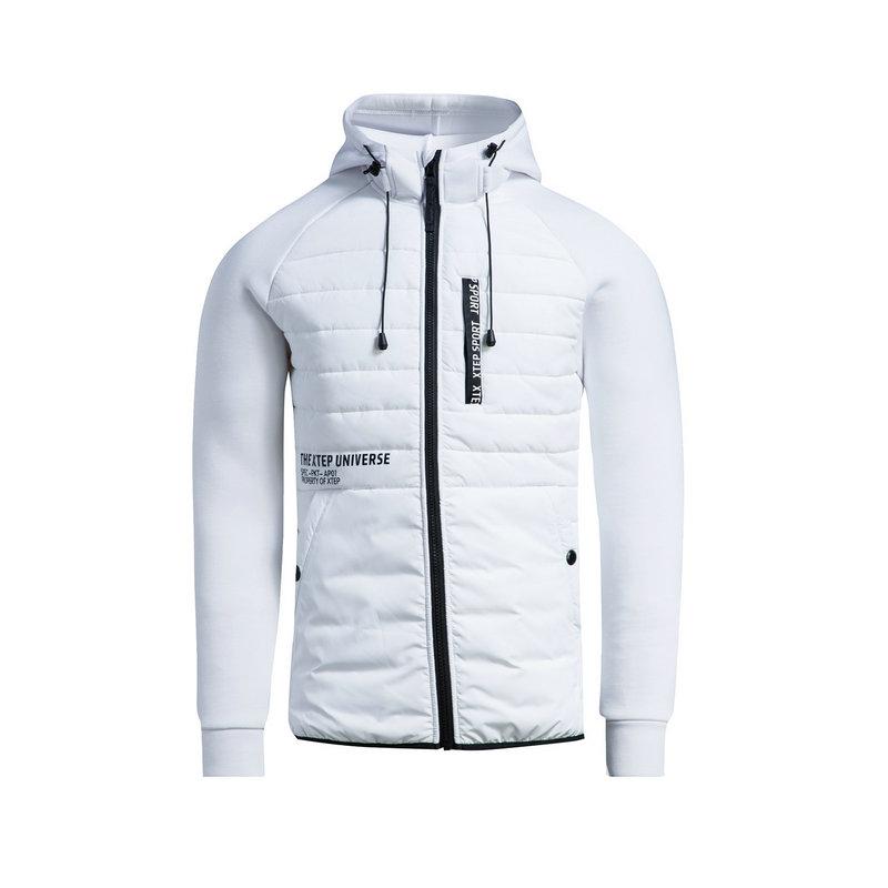 特步 男子棉服 冬季新款 校园保暖舒适休闲连帽拉链外套883429449003