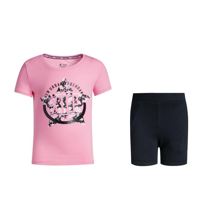 特步 专柜款 女童新款舒适透气运动套装683224344005